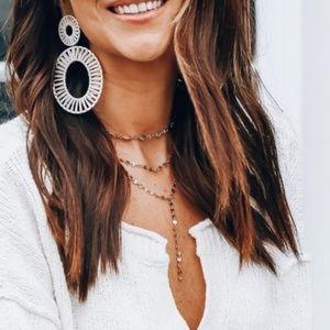 Anthro Kiera Raffia Statement Earrings - White